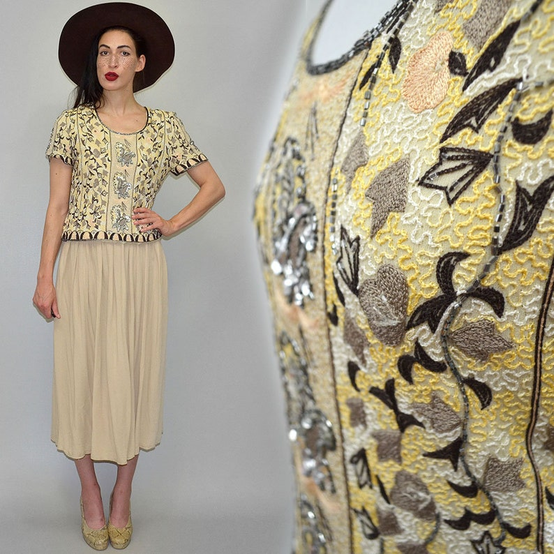 Vintage Silk Encrusted Bodice Bustier Blouse Art Deco image 0