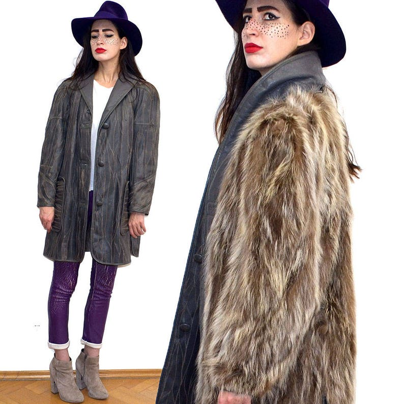 Vintage Reversible Leather Shaggy Real RACCOON Fur Lining image 0