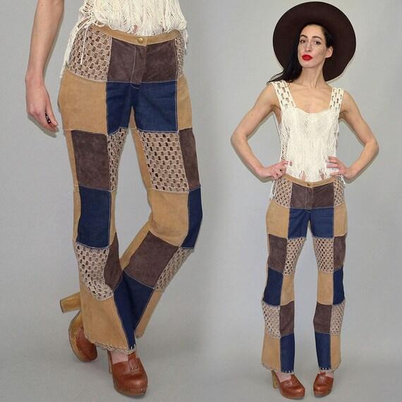 Vintage Real Leather Jeans Denim Mending Patchwork