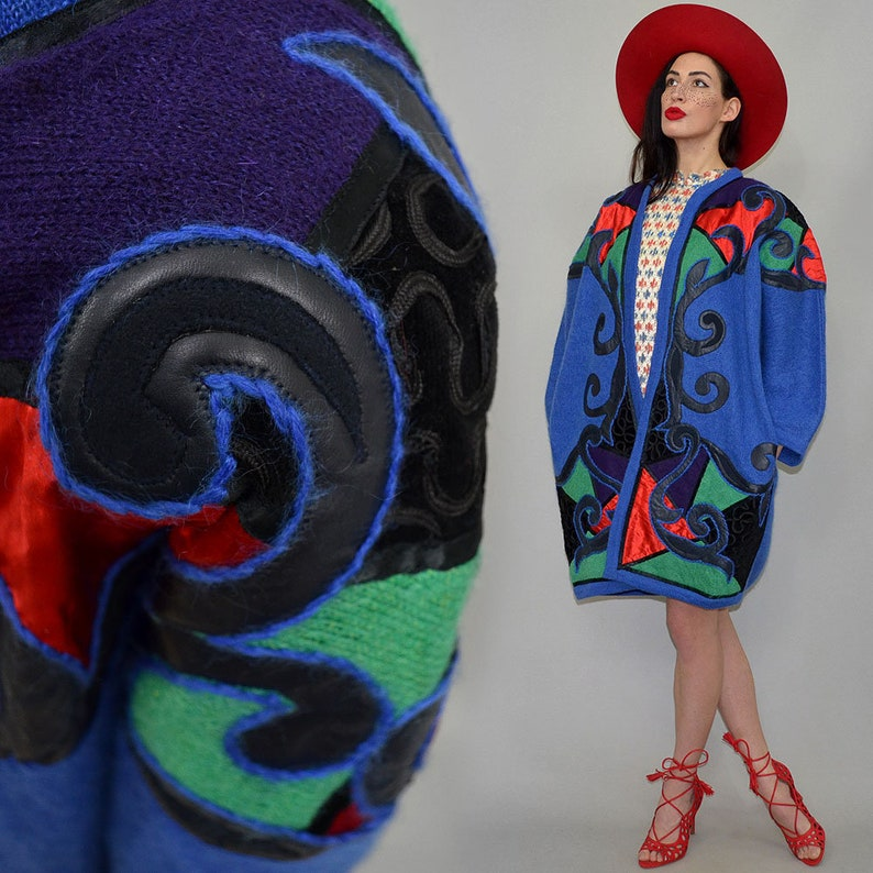 Vintage Fuzzy Kid Mohair Oversize Cocoon Kimono Navajo Ethnic image 0