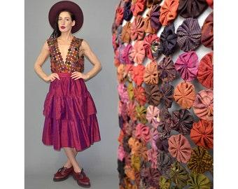 Vintage Silk Gypsy Rosette Patchwork Embroidered Folklore Ethnic Layering Chasuble Gilet Mesh Boho Waistcoat Jacket Blouse Tunic Rushed 90s