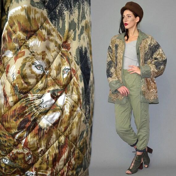 Vintage Brigitte Z Quilted Jacket Embroidered Chai