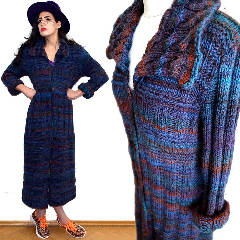 Vintage Rainbow Ombre Festival Cowl Draped Cardigan Maxi Coat image 0