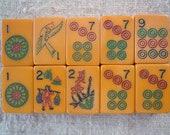 TEN Vintage Bakelite Mahjong Tiles - a MEDLEY - deep orange-ish butterscotch bakelite and in very nice condition code 022220a