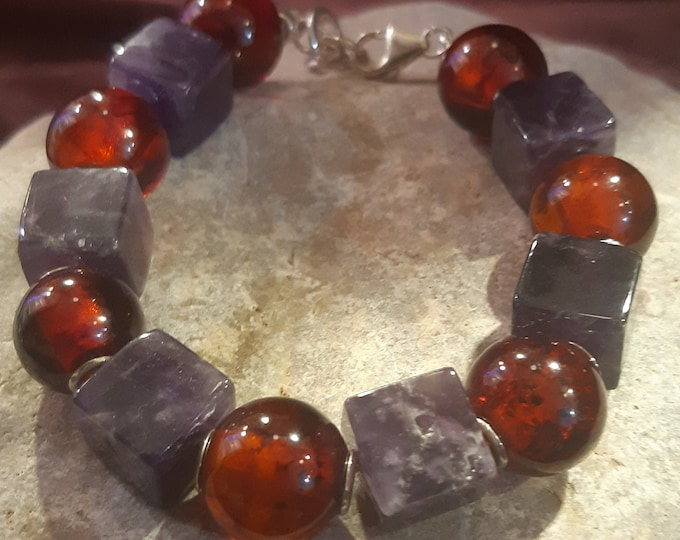 Amber and amethyst bracelet.  Polished amber spheres bracelet. Amethyst cubes, sterling silver, adjustable bracelet, statement bracelet,
