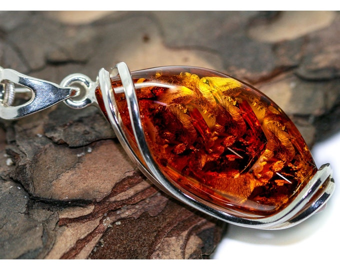 Baltic Amber Pendant in Sterling Silver. Amber necklace, silver pendant. Baltic Amber jewelry. Perfect gift for her. Statement necklace.
