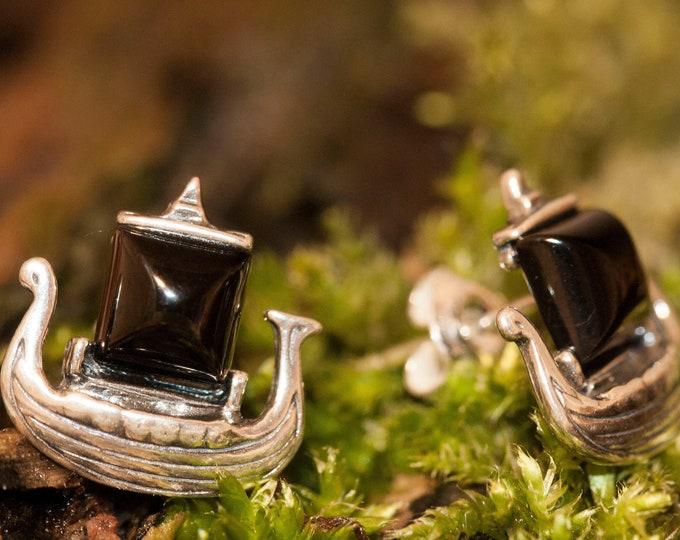 Viking's dragon ship earrings. Jet Earrings. Sterling Silver Earrings, Contemporary jewelry. Genuine Whitby Jet. Viking, dainty earrings.
