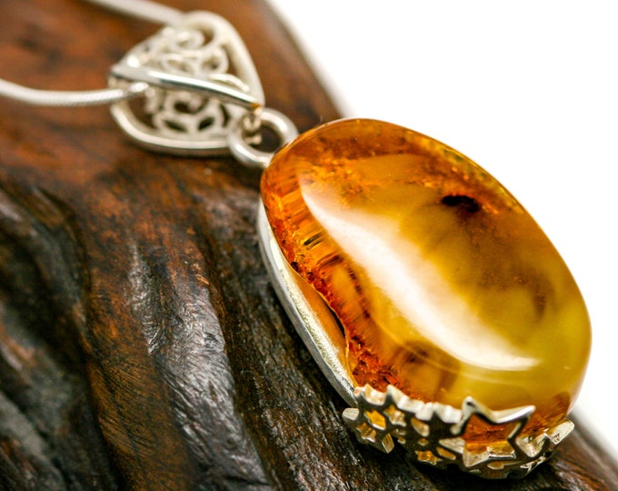 Adorable Butterscotch Amber Pendant. Sterling Silver Necklace, Milky Amber jewelllery. Contemporary jewelry. Perfect gift. Baltic Amber.
