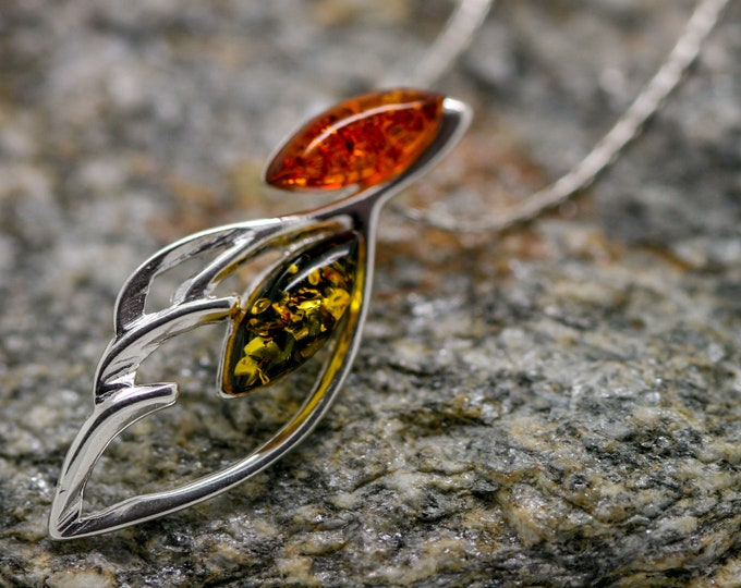 Baltic Amber Pendant in Sterling Silver. Green Amber necklace, silver jewelry. Baltic Amber jewelry. Silver necklace. Perfect gift for her