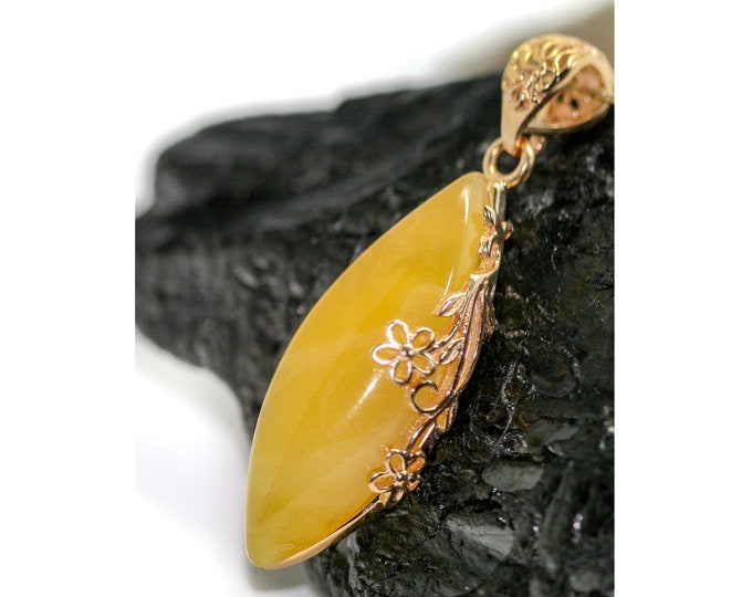 Original Milky Amber Pendant. Baltic amber fitted in 14 CT Gold plated sterling silver setting. Butterscotch Amber jewelllery.