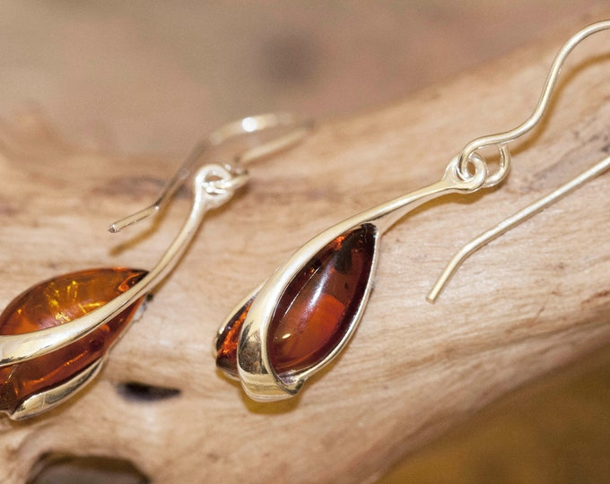 Baltic Amber Earrings fitted in a Sterling Silver setting. Big silver earrings, amber stone. Perfect gift. Amber jewellery, cognac amber