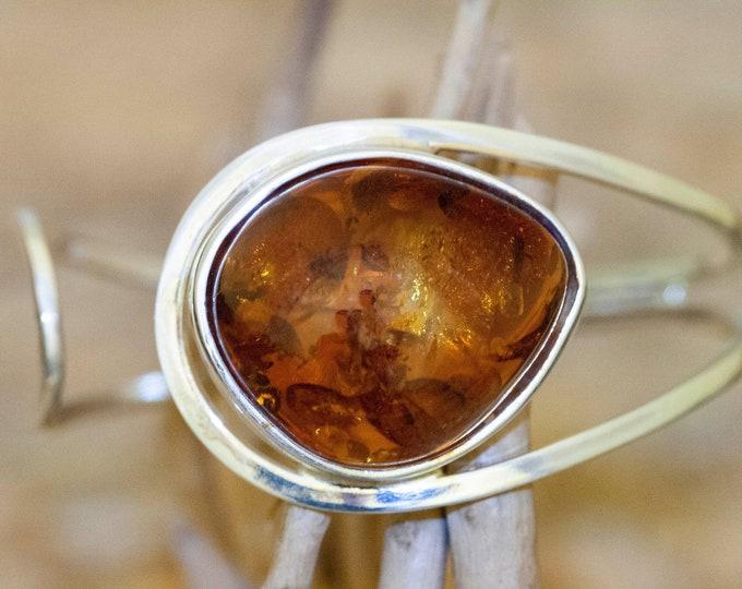 Baltic Amber bracelet. Sterling silver bangle bracelet. Unique present for her. Contemporary design. Adjustable bracelet.