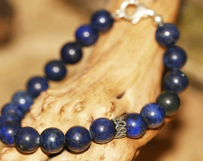 Lapis lazuli bracelet, Man jewelry, Beads bracelet. Unisex. Summer bracelet. Blue bracelet, Gift for him. Man jewelry. Lapis and silver