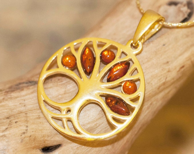 Amber & Gold. Tree of Life Baltic amber pendant, gold necklace. Perfect gift for her. Gold pendant. Amber jewelry. Cognac amber pendant.