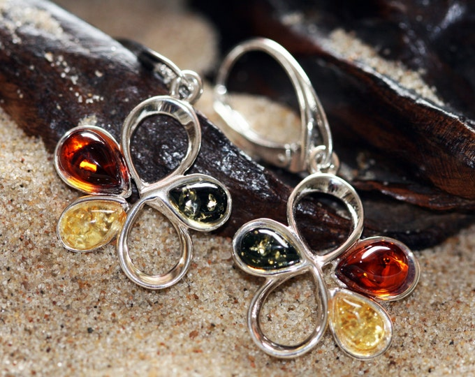 Baltic amber earrings. Multicolor amber and sterling silver flower shaped earrings.