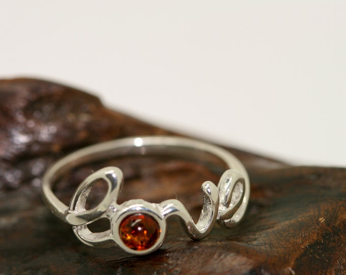 Love Ring. Cognac piece of Baltic amber fitted in sterling silver setting. Love jewellery. Valentine's Day gift for her. Many sizes.