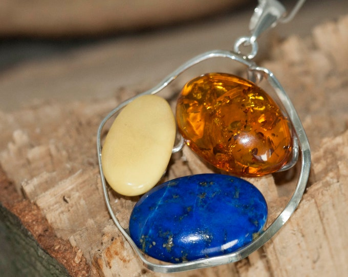 Unique, designer large pendant, lapis and amber in sterling silver, gift for her, three stones in sterling silver. Lapis lazuli