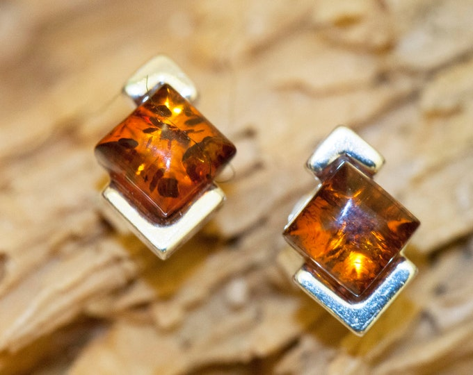 Studs earrings. Studs sterling silver and cognac amber earrings. amber stone. Perfect gift for her. Amber jewellery,  square earrings.