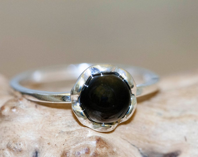 Whitby Jet ring. Sterling silver setting. Perfect gift. Designer ring. Whitby Jet jewelry. Flower design. Unique.