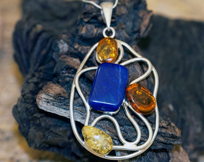 Lapis & Amber in sterling silver. Unique, designer large pendant, gift for her, four stones in sterling silver. Lapis lazuli. Contemporary.