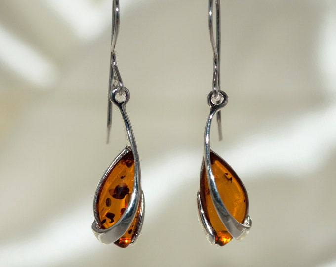 Baltic amber earrings. Sterling silver and cognac amber earrings.