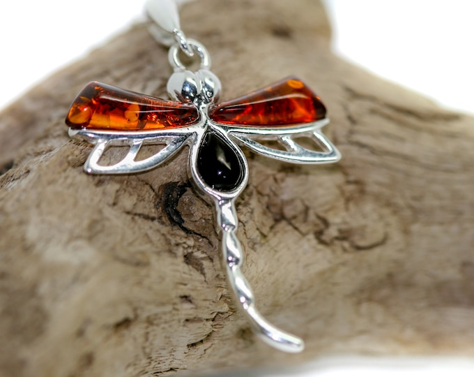 Dragon fly pendant. Whitby Jet and Amber pendant. Sterling Silver Pendant, British jewellery. Contemporary jewelry. Genuine Whitby Jet.