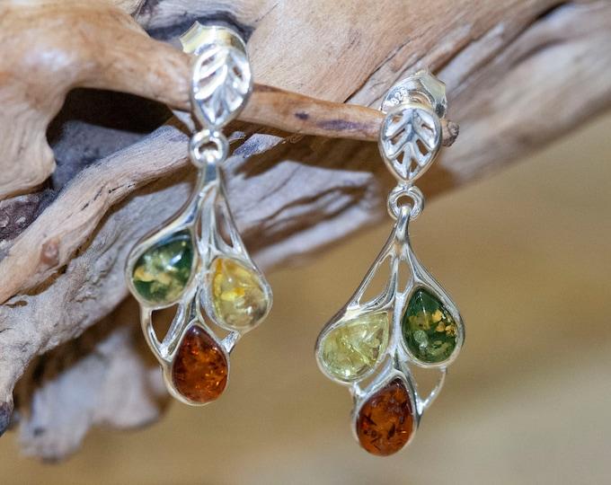 Multicolor amber earrings. Sterling silver earrings. Dangle earrings. Big earrings. Cognac and green amber earrings. Leaf shaped earrings.