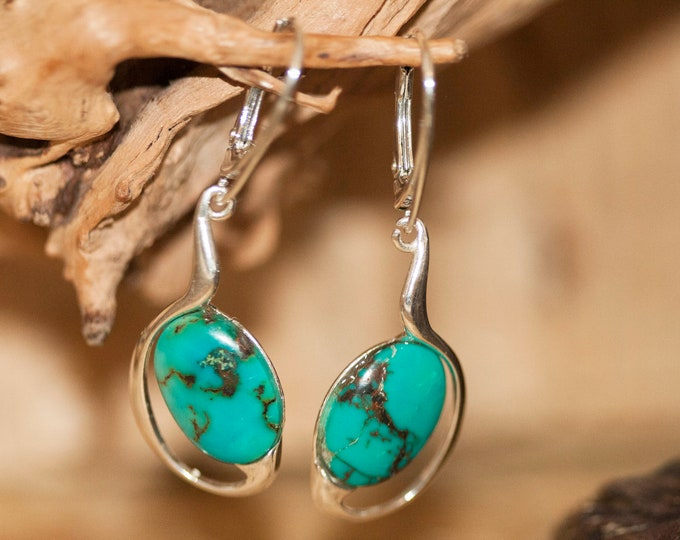 Turquoise Earrings fitted in a Sterling Silver setting. Big silver earrings, turquoise stone. Perfect gift for her. Turquoise jewellery
