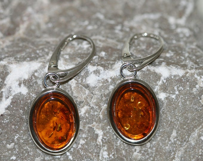Baltic amber earrings. Sterling silver and cognac amber earrings. Perfect gift, large earrings