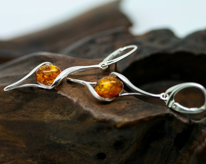 Substantial Baltic Amber Earrings fitted in a Sterling Silver setting. Silver earrings, amber stone. Perfect gift for her. Amber jewellery