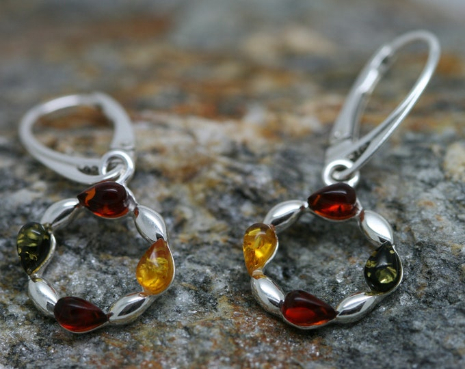 Yellow, Green and Cognac Baltic Amber Earrings fitted in a Sterling Silver setting. Silver earrings. Perfect gift for her. Amber jewelry,