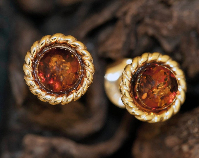 Amber & Gold. Baltic amber earrings, gold earrings. Celtic design. Ideal gift. Amber jewelry. Handmade. Silver jewelry. Stud earrings.