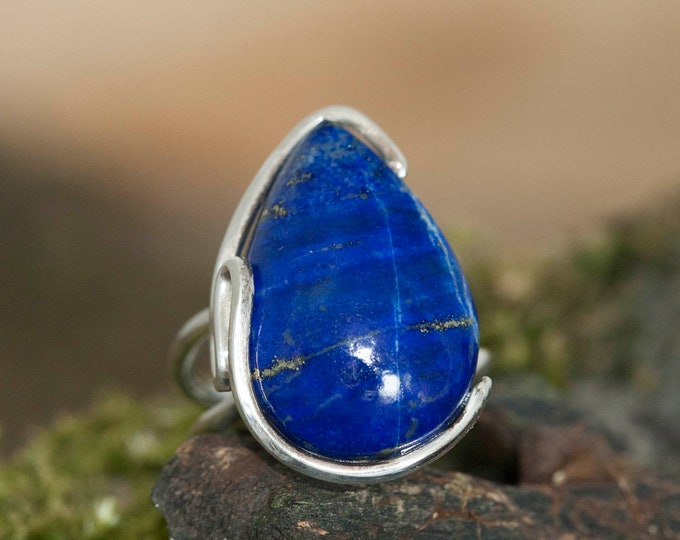 Statement Lapis Lazuli Ring fitted in Sterling Silver setting. Lapis jewellery, silver ring, big ring. Lapis Lazuli rings Design jewelry.