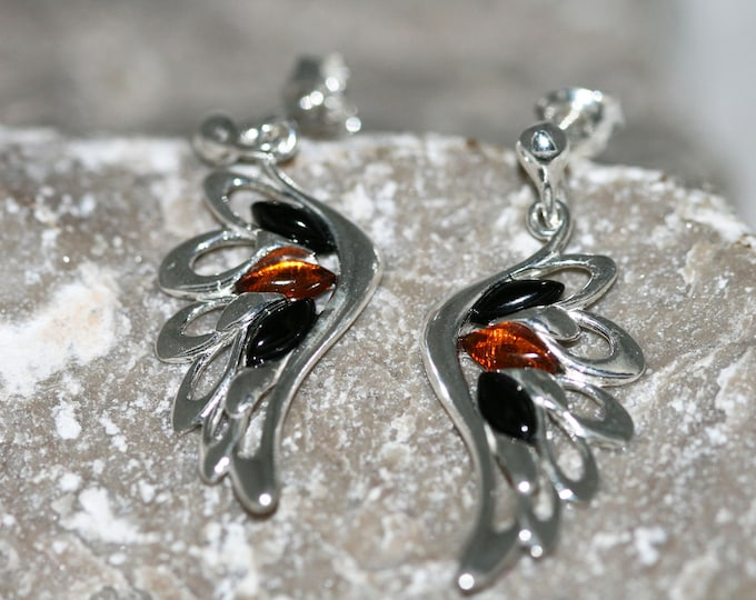 Angel Wing Whitby Jet and Amber earrings. Sterling Silver Earrings, British jewellery. Contemporary jewelry. Genuine Whitby Jet.
