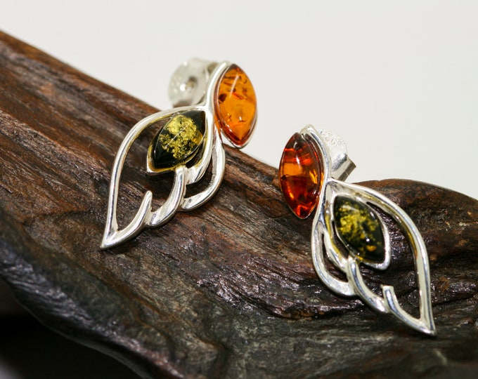 Baltic Amber Earrings fitted in a Sterling Silver setting. Silver earrings, green and cognac amber stone. Perfect gift for her.