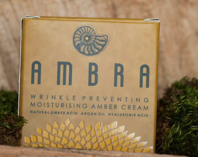 amber cream, wrinkle preventing moisturising amber cream, amber cosmetic, amber gift, perfect for her