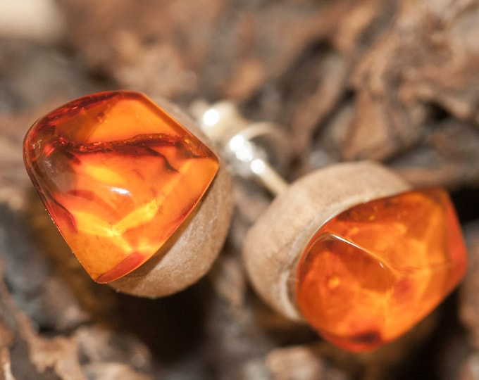 Stud earrings. Baltic Amber and Storm Wood. Cognac amber earrings. amber stone. Perfect gift for her. Amber jewelry, sterling silver