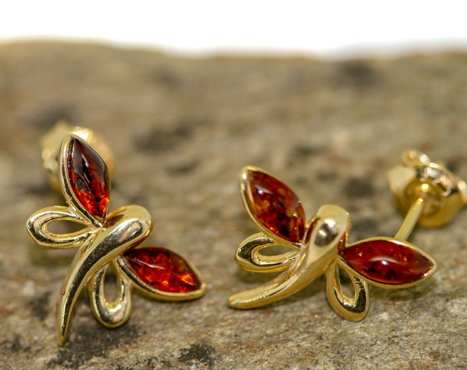 Amber&Gold. Cognac amber earrings. Baltic amber fitted in 14 CT Gold plated sterling silver setting. Dragon fly studs