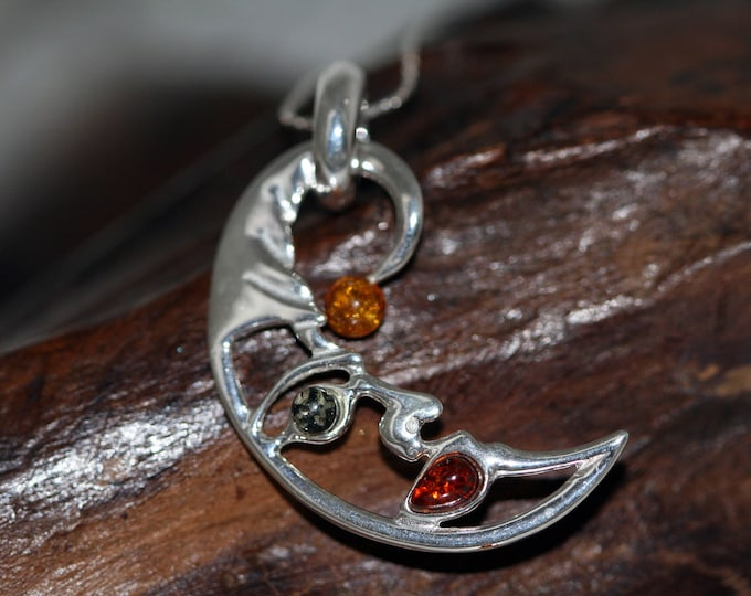 Moon Baltic Amber Pendant in Sterling Silver. Amber necklace, silver necklace. Baltic Amber jewelry. Silver jewelry Perfect gift for her 925