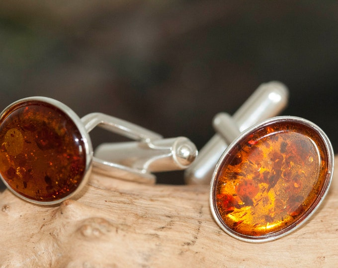 Baltic Amber Cufflinks , Sterling silver cufflinks, Anniversary gift for him, Men jewelry, Orange cufflinks, Amber links