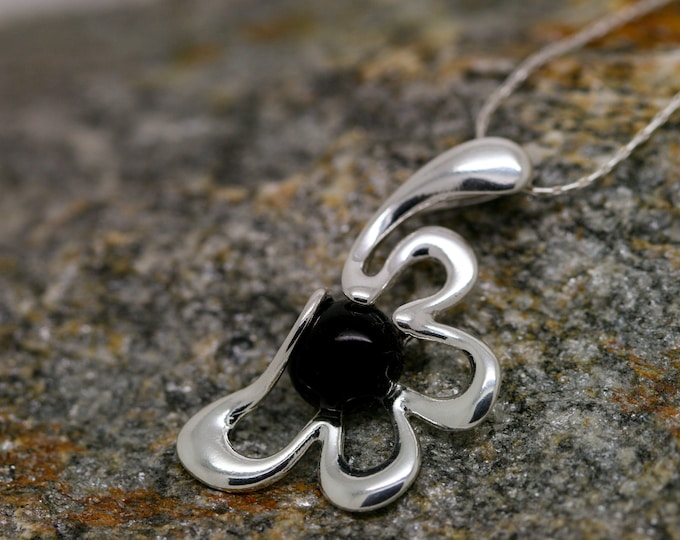 Lovely Whitby Jet Pendant. Sterling Silver Necklace, Original British jewelllery. Contemporary jewelry. Perfect gift. Genuine Whitby Jet.