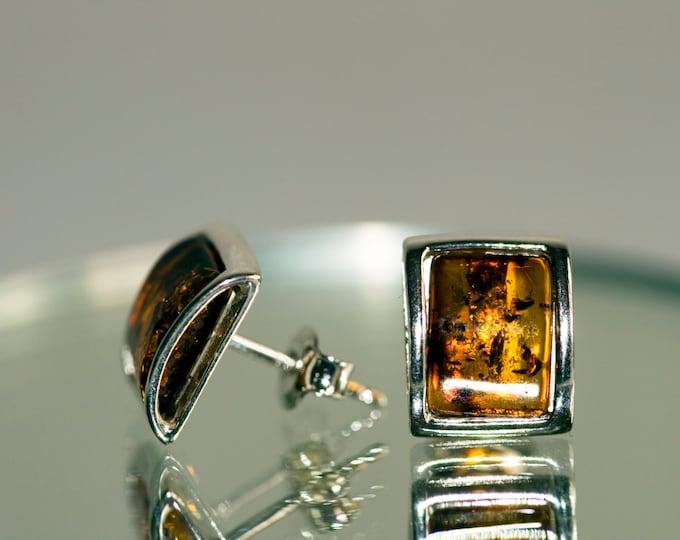 Amber&Silver. Cognac amber earrings.