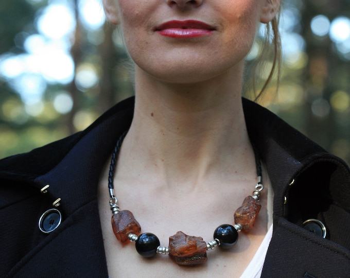Substantial Baltic Amber necklace, Natural Baltic amber, organic jewelry, sterling silver, unique necklace, contemporary jewelry, 21 inch