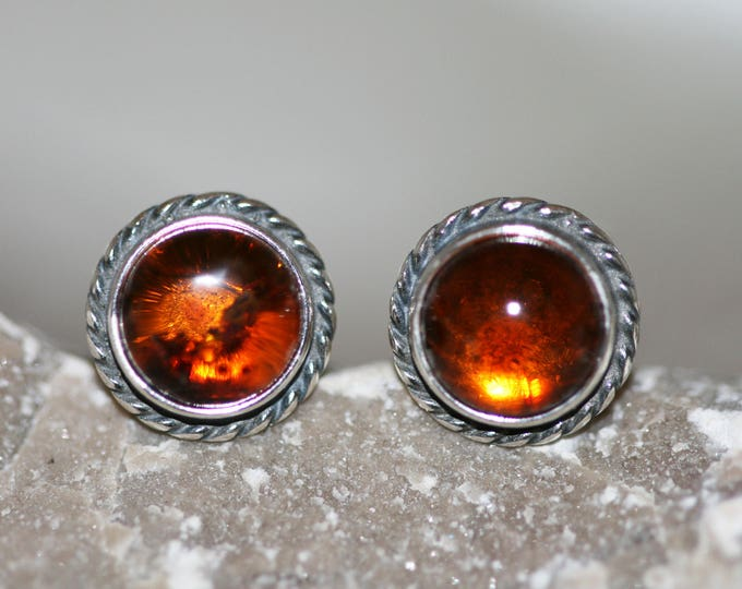 Baltic Amber Earrings fitted in a Sterling Silver setting. Silver studs, amber stone. Perfect gift for her. Amber jewellery, jewellry.