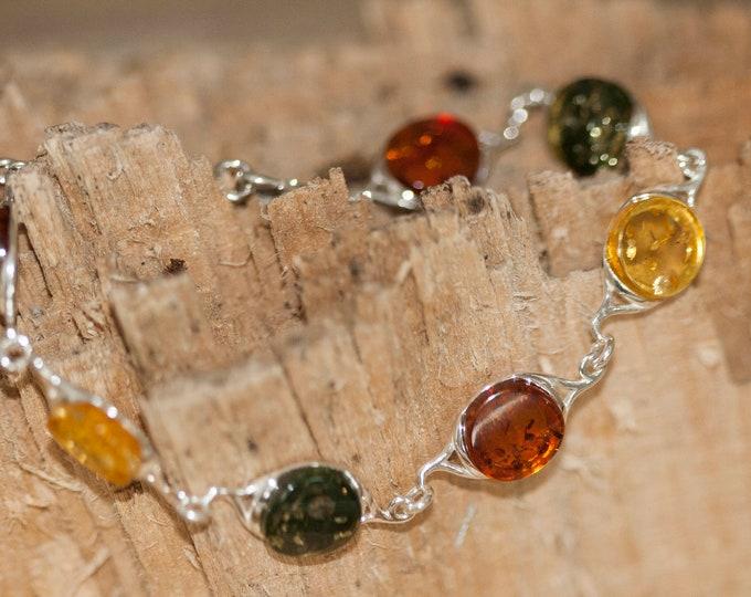 Multicolor amber bracelet. Multicolor Baltic amber in sterling silver setting. Amber bracelet. Links bracelet. Gift for her.