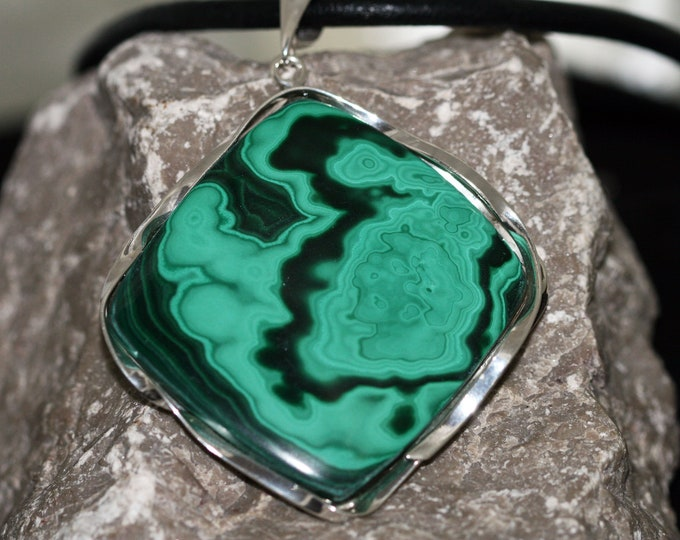 Unique, designer large pendant, Malachite in sterling silver, gift for her, malachite in sterling silver, malachite pendant.