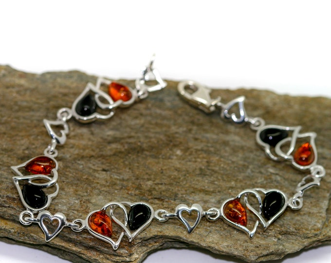 Heart shaped. Whitby Jet and Amber bracelet. Sterling Silver Bracelet, British jewellery. Contemporary jewelry. Genuine Whitby Jet.
