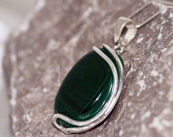 Malachite Pendant fitted in Sterling Silver setting. Perfect gift for her. Malachite necklace silver pendant. Silver jewelry malachite stone