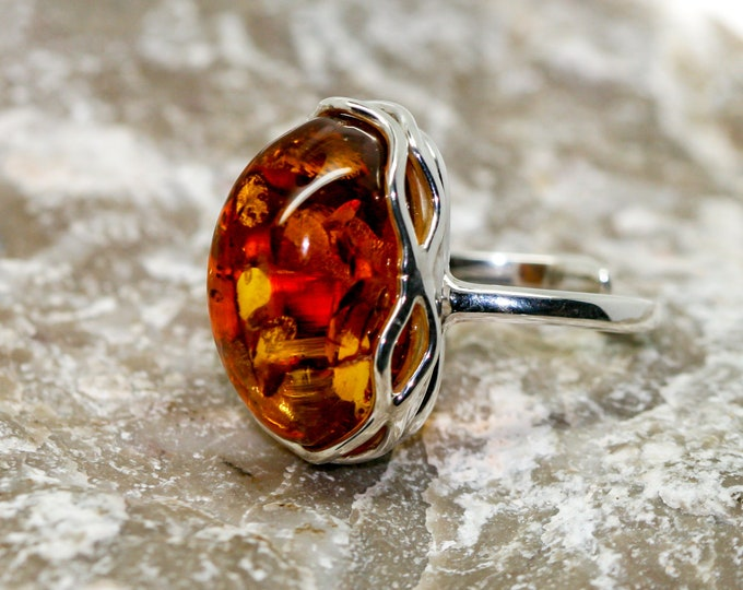 Baltic amber ring. Baltic amber & sterling silver, unique ring, statement ring, contemporary ring, designer ring, Valentine's Day gift