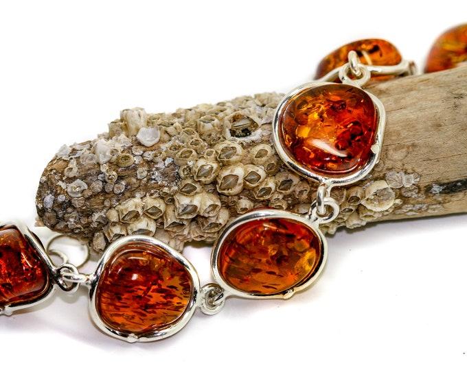 Cognac Amber bracelet/ Baltic amber bracelet / bracelet /big  bracelet /  Perfect gift for her/ Anniversary gift/artistic bracelet